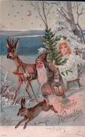 Fröhliche Weihnachten, Nain Père Noël, Enfant, Chevreuil Et Lapin, Litho Gaufrée (2708) - Santa Claus