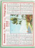 CALENDRIER ALMANACH DES POSTES ET TELEGRAPHES 1940 - Calendars