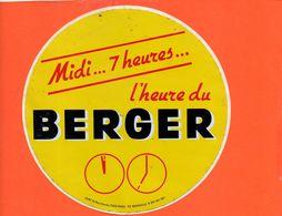Autocollant - Publicité - Alcool - BERGER Midi...7 Heures L'heure Du Berger (dimensions 16 Cm) - Alcools
