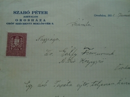 PR2.1  Hungary   Invoice  Orosháza  Szabó Péter Carpenter Gr. Széchenyi Miklós Tér 5 -revenue Stamp 2 Fillér 1926 -1930 - Invoices & Commercial Documents