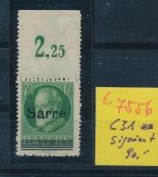 Saar Nr  C31 Signiert  **  (c 7556  ) Siehe Scan - 1920-35 Saargebiet – Abstimmungsgebiet