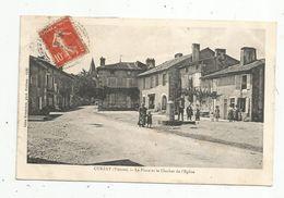 Cp, 86 ,  CURZAY , Vienne , La Place Et Le Clocher De L'église , Voyagée 1912 - Autres Communes