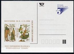 CZECH REPUBLIC 1996 3 Kc. Postcard Riccione Europa Exhibition Unused.  Michel P19-A4 - Postal Stationery