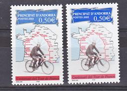 Andorre 582 Variété Bleu Vif Et Bleu Pale 2003 Neuf ** TB MNH Sin Charnela - Andorre Français