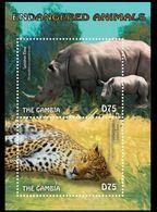 Amur Leopard, Sumatran Rhino, Wild Animals, Gambia 2014 MNH SS - Rhinozerosse