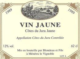 VIN JAUNE .  1989 ..62cl ..13° - Etiquettes