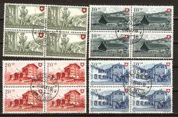 PRO PATRIA 1948 Blocs De 4 Obl. NEUCHÂTEL 2.8.48 SBK 100,- Voir Description - Used Stamps
