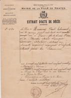Feuillet  Acte De Décés 1914 - 1914-18