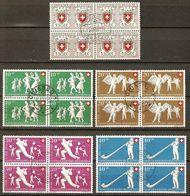 PRO PATRIA 1951 Blocs De 4 Obl. SBK 180,- Voir Description - Used Stamps