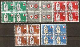PRO PATRIA 1957 Blocs De 4 Obl. INTERLAKEN 2.11.57 SBK 90,- Voir Description - Pro Patria