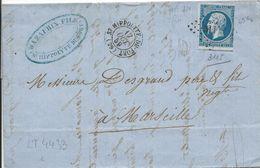 LT4433  Variété/n°14A/lettre, Oblit PC 3115 St-Hippolyte-du-Fort, Gard (29), Ind 4, Tache Blanche Sous Le Coup, Filets S - 1853-1860 Napoléon III