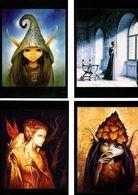 Lot De 4 Cartes Postales De Sandrine GESTIN, Peinture, Huile Sur Toile, Vierge, Lutin Bleu, Reine, Feuillu, Salle Trône - Märchen, Sagen & Legenden