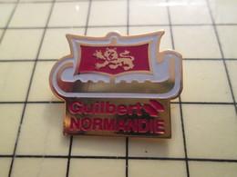Pin910e Pin's Pins / Beau Et Rare : MARQUES / GUILBERT NORMANDIE DRAKKAR VOILIER VIKING NORMAND - Marche