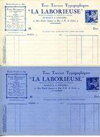 """30.GARD.NIMES.TOUS TRAVAUX TYPOGRAPHIQUES """" LA LABORIEUSE """" 10 RUE EMILE JAMAIS.2 PIECES. - Imprimerie & Papeterie"""