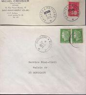 Lettres Ambulants :Amgoulème A Bordeaux, Saintes A Poitiers - Marcophilie (Lettres)