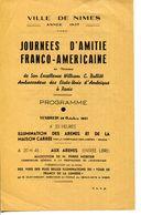 30.GARD.NIMES.TRACT PROGRAMME POUR LES JOURNÉES D'AMITIE FRANCO-AMERICAINE.1937. - Non Classés