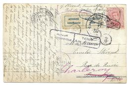 10 Ct  Charleroi  1920 Vers Brux. 17.VI.1920 Adresse Insuf. + Retour Envoyeur + REBUT/ONBESTELBAAR Charleroi 22.VI.20 - 1915-1920 Albert I