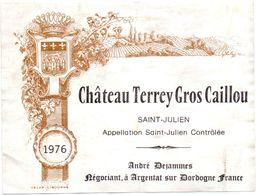 Etiket Etiquette - Vin - Chateau Terrey Gros Caillou - Saint Julien - 1976 - Unclassified