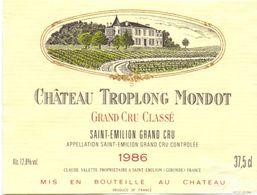 Etiket Etiquette - Vin - Chateau Troplong Mondot - Grand Cru Classé - Saint Emilion 1986 - Unclassified
