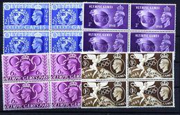 A5252) UK Grossbritannien Olympia 1948 In 4er-Blocks ** Unused MNH - 1902-1951 (Re)