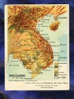 Grand Chromo Cirage Lion Noir Carte Indochine Indochina Map Asie Old Trade Card - Chromos