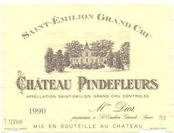 Etiket Etiquette - Vin - Chateau Pindefleurs - Saint Emilion Grand Cru - 1990 - Unclassified