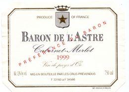 Etiket Etiquette - Vin - Baron De L'Astre - Cabernet Merlot 1999 - Unclassified