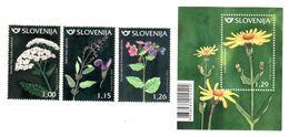 1375 Slowenien Slovenia 2018 Mi.No. 1298 - 1301 ** MNH Flora Herbs Plants Common Yarrow Sage Lungwort Mountain Arnica - Heilpflanzen