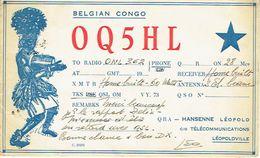 Ancienne QSL De OQ5HL Leopold Hansenne Léopoldville Congo Belge (vers 1945/50) - Amateurfunk