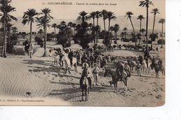 Cpa Colomb Béchar Convoi De Mulets Dans Les Dunes - Bechar (Colomb Béchar)