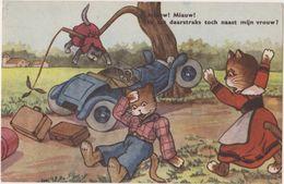 Cpa  Animaux, Illustrateur , Chats Humanisés Famille : Route Accident Voiture , Valises - Cats
