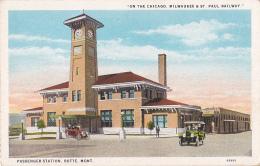 "Passenger Station - Butte - Mont ""On The Chicago, Milwaukee & St Paul Railway (automobiles) Circulé Sans Date - Butte"