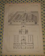 Plan D'un Type De Bains Et Lavoir Publics à Plan Développable..  1869 - Public Works