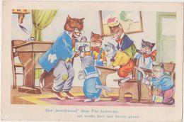 Cpa   Chats  Humanisés ,illustrateur ,école En Pleine Action ,,pupitres , Encrier , - Cats