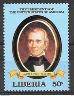 Liberia 50 Cents US President James K Polk Mint Never Hinged - Famous People