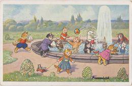 Cpa   Chats  Humanisés ,illustrateur , Chatons ,bassin , Jeux :bateaux, Ballon,ours Peluche - Cats