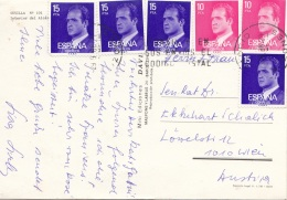 SPANIEN - 6 Fach Frankierung Auf Pk Sevilla Interior Del Alcaz … - 1931-50 Briefe U. Dokumente
