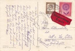 EUROPA EXPRESS 1964 - Europa Frankierung Mit Zusatz + EXPRESS Auf Ak WIESBADEN, Transportspuren - Sonstige - Europa
