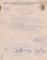 BELGIË/BELGIQUE :1933: Facture De La ## SOCIETE D'ELECTRICITE Du BASSIN De CHARLEROI ##  à ## Mr. HARDY à FONTAINE- ... - Electricity & Gas