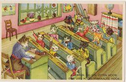 Cpa   Chats  Humanisés ,illustrateur , Chatons , école : En Classe , Pupitres,mappemonde, - Cats