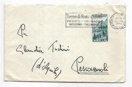 FRANCOBOLLO LIRE 25 CORTINA D'AMPEZZO  1954  SU BUSTA - 1946-.. Republiek