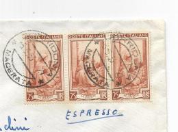 FRANCOBOLLO LIRE 25 TRE LE ARANCE SICILIA  1953  SU BUSTA - 1946-.. Republiek