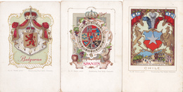 2237/ 10 Oude Kaarten, Wapen, Vlag, Bolivia, Natal, Haiti, Schweiz, Chile, Spanien, Etc - Cartes Postales