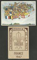 N° 787 - JAMBOREE De La Paix / Lot 2 Cartes Postales Concordantes 04 &16.08.1947 - Marcophilie (Lettres)