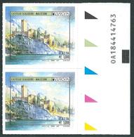 Italia 2017; EUROPA Da € 1,00: Castello Scaligero Di Malcesine. Coppia Con Codice Alfanumerico. - Codici A Barre