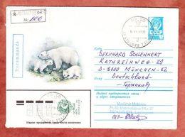 U 365 Wappen, Abb: Eisbaeren, + ZF, Einschreiben Reco, Leningrad Nach Muenchen 1990 (48437) - 1923-1991 USSR