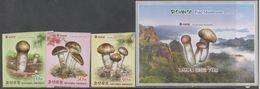 PLANTS, 2018, MNH, MUSHROOMS, PINE MUSHROOMS, MOUNTAINS, 3v+  S/SHEET, IMPERFORATE - Mushrooms