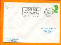 Paris, Paris 71, Flamme à Texte, Assure-expo, 2-6 Fevrier 1988 - Postmark Collection (Covers)