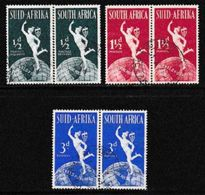 SOUTH AFRICA UNION 1949 Used  Pairs UPU 75 Years 127-129 - South Africa (...-1961)