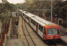 """D7505 """"FERROVIA CIRCUMVESUVIANA-LINEA NAPOLI-BAIANO - TRENO IN ARRIVO STAZIONE CICCIANO - APRILE 1985""""  CART NON SPED - Stazioni Con Treni"""